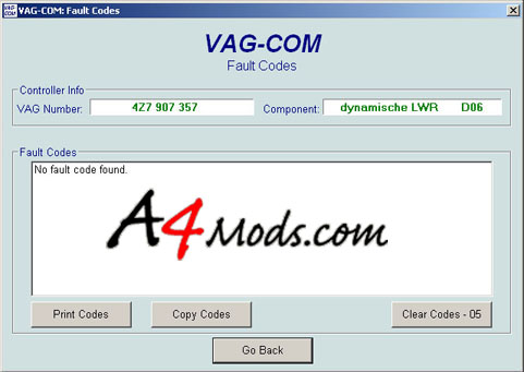 B6 Audi A4 - OBDTool Vag Com Auto Level Error